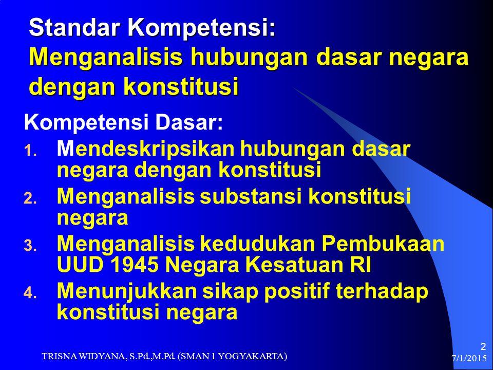 7/1/2015 TRISNA WIDYANA, S.Pd.,M.Pd. (SMAN 1 YOGYAKARTA) 2 Standar Kompetensi: Menganalisis hubungan dasar negara dengan konstitusi Kompetensi Dasar: