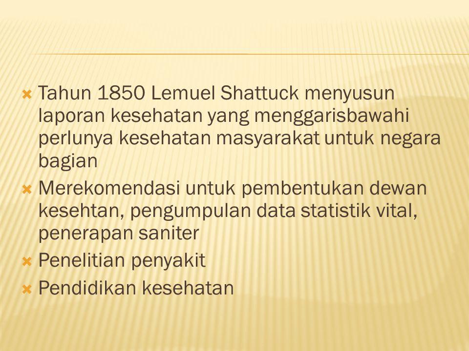  Tahun 1850 Lemuel Shattuck menyusun laporan kesehatan yang menggarisbawahi perlunya kesehatan masyarakat untuk negara bagian  Merekomendasi untuk pembentukan dewan kesehtan, pengumpulan data statistik vital, penerapan saniter  Penelitian penyakit  Pendidikan kesehatan