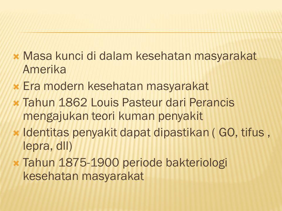  Masa kunci di dalam kesehatan masyarakat Amerika  Era modern kesehatan masyarakat  Tahun 1862 Louis Pasteur dari Perancis mengajukan teori kuman penyakit  Identitas penyakit dapat dipastikan ( GO, tifus, lepra, dll)  Tahun 1875-1900 periode bakteriologi kesehatan masyarakat