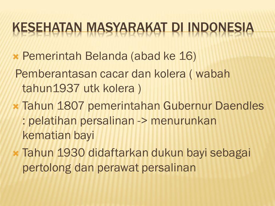  Pemerintah Belanda (abad ke 16) Pemberantasan cacar dan kolera ( wabah tahun1937 utk kolera )  Tahun 1807 pemerintahan Gubernur Daendles : pelatihan persalinan -> menurunkan kematian bayi  Tahun 1930 didaftarkan dukun bayi sebagai pertolong dan perawat persalinan