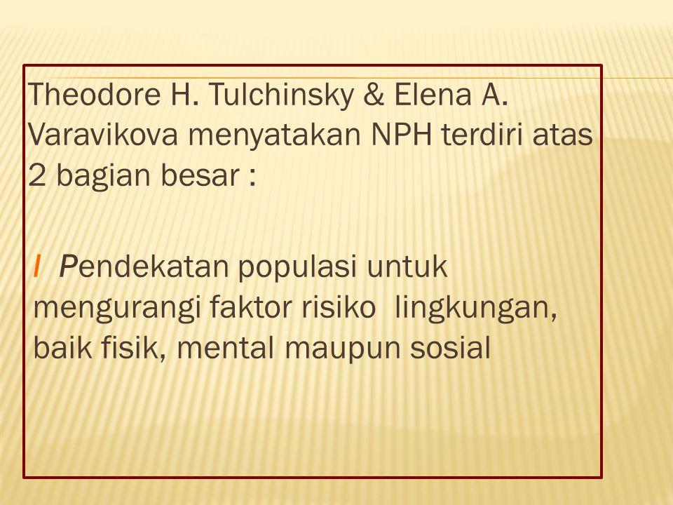 Theodore H. Tulchinsky & Elena A.Varavikova menyatakan NPH terdiri atas2 bagian besar : I P endekatan populasi untuk mengurangi faktor risiko lingkung