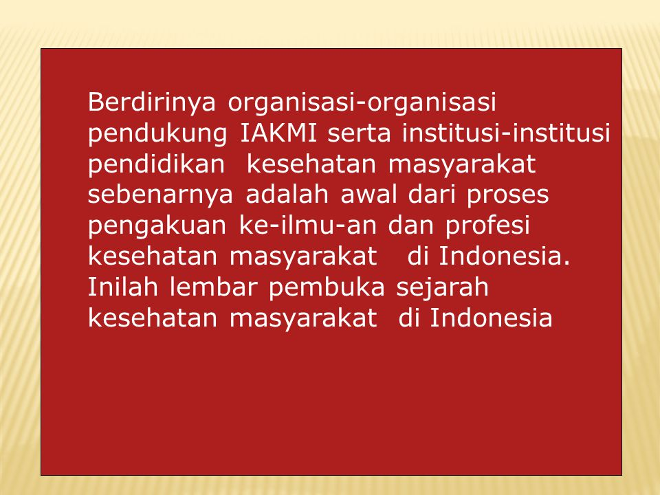 Berdirinya organisasi-organisasi pendukung IAKMI serta institusi-institusi pendidikan kesehatan masyarakat sebenarnya adalah awal dari proses pengakuan ke-ilmu-an dan profesi kesehatan masyarakat di Indonesia.