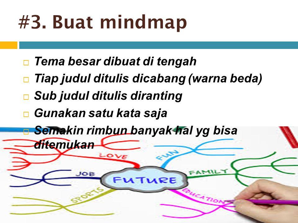 #3. Buat mindmap  Tema besar dibuat di tengah  Tiap judul ditulis dicabang (warna beda)  Sub judul ditulis diranting  Gunakan satu kata saja  Sem