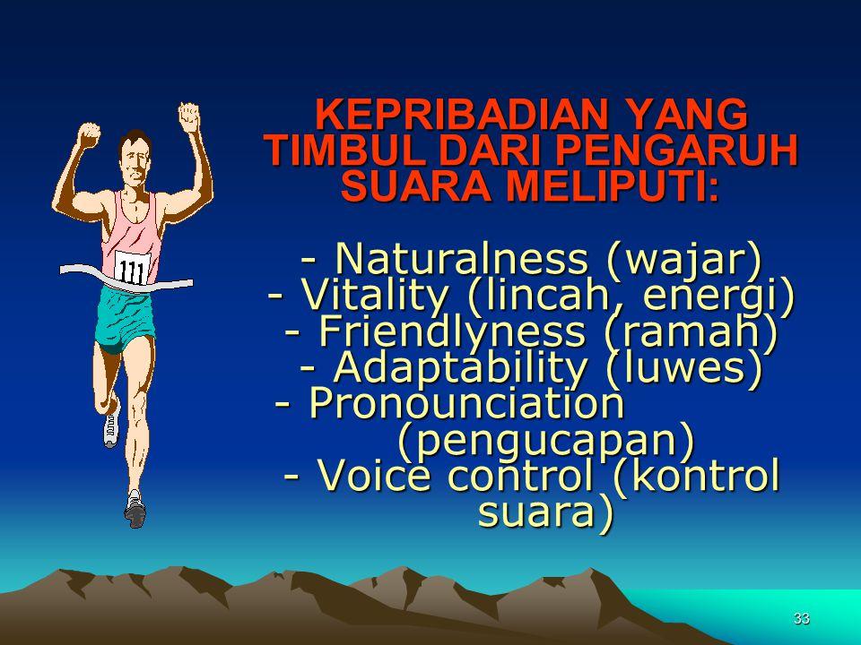32 SIKAP BADAN  Ciptakan kondisi rileks pada alat vokal  Berdiri tegak, tapi tidak kaku  Kaki tidak 100% lurus, lutut rileks  Cara bernafas yang b