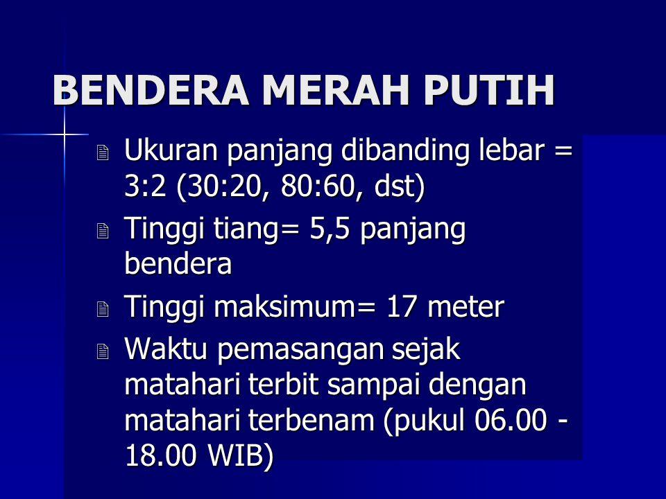 LAMBANG-LAMBANG KEHORMATAN NEGARA 1. BENDERA MERAH PUTIH (PP. No. 40. Tahun 1958). 2. GAMBAR BURUNG GARUDA (PP. No. 66 Tahun 1951). 3. LAGU INDONESIA