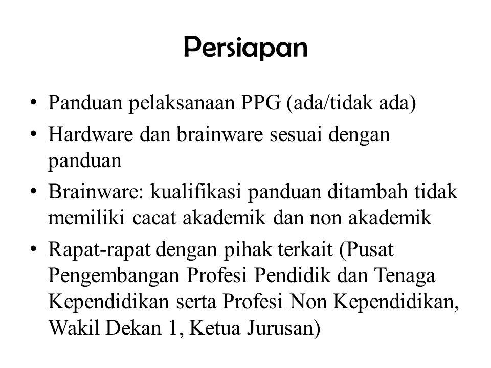 Persiapan Panduan pelaksanaan PPG (ada/tidak ada) Hardware dan brainware sesuai dengan panduan Brainware: kualifikasi panduan ditambah tidak memiliki