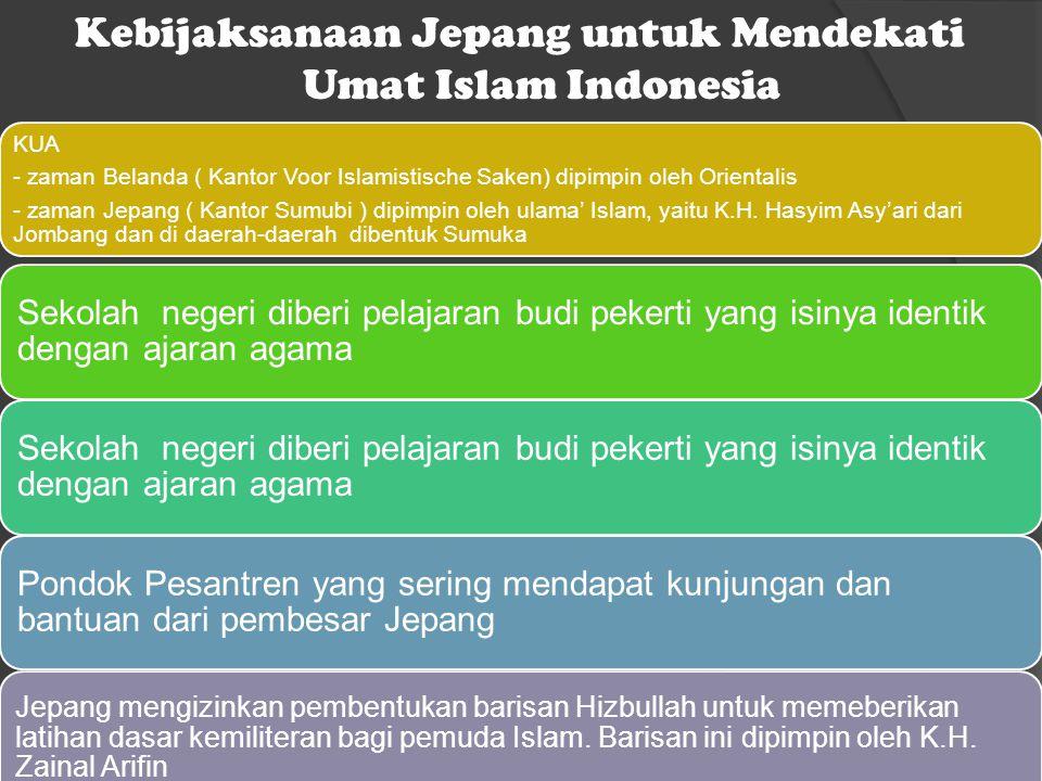 Kebijaksanaan Jepang untuk Mendekati Umat Islam Indonesia KUA - zaman Belanda ( Kantor Voor Islamistische Saken) dipimpin oleh Orientalis - zaman Jepa