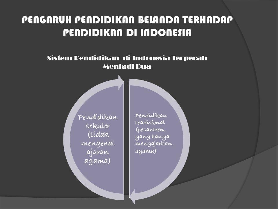 PENGARUH PENDIDIKAN BELANDA TERHADAP PENDIDIKAN DI INDONESIA Pendidikan teadisional (pesantren, yang hanya mengajarkan agama) Pendidikan sekuler (tida