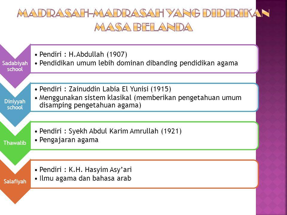 Sadabiyah school Pendiri : H.Abdullah (1907) Pendidikan umum lebih dominan dibanding pendidikan agama Diniyyah school Pendiri : Zainuddin Labia El Yun