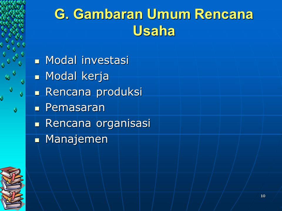 10 G. Gambaran Umum Rencana Usaha Modal investasi Modal investasi Modal kerja Modal kerja Rencana produksi Rencana produksi Pemasaran Pemasaran Rencan