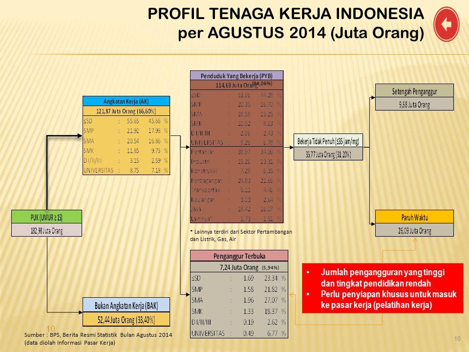 10 * Lainnya terdiri dari Sektor Pertambangan dan Listrik, Gas, Air Sumber : BPS, Berita Resmi Statistik Bulan Agustus 2014 (data diolah Informasi Pas