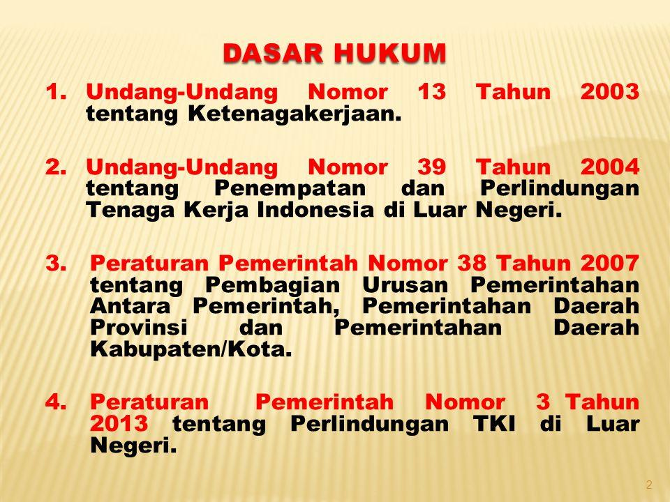 5.Peraturan Pemerintah Nomor 4 Tahun 2013 tentang Tata Cara Pelaksanaan Penempatan Tenaga Kerja Indonesia Di Luar Negeri Oleh Pemerintah 6.Peraturan Pemerintah Nomor 5 Tahun 2013 tentang Tata Cara Penilaian dan Penetapan Mitra Usaha dan Pengguna Perseorangan 7.Peraturan Pemerintah Nomor 4 Tahun 2015 Pelaksanaan Pengawasan Terhadap Penyelenggaraan Penempatan dan Perlindungan Tenaga Kerja Indonesia Di Luar Negeri DASAR HUKUM 3