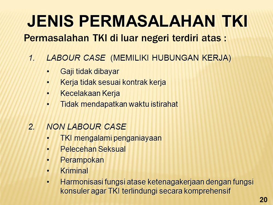JENIS PERMASALAHAN TKI 1.LABOUR CASE (MEMILIKI HUBUNGAN KERJA) Gaji tidak dibayarGaji tidak dibayar Kerja tidak sesuai kontrak kerjaKerja tidak sesuai