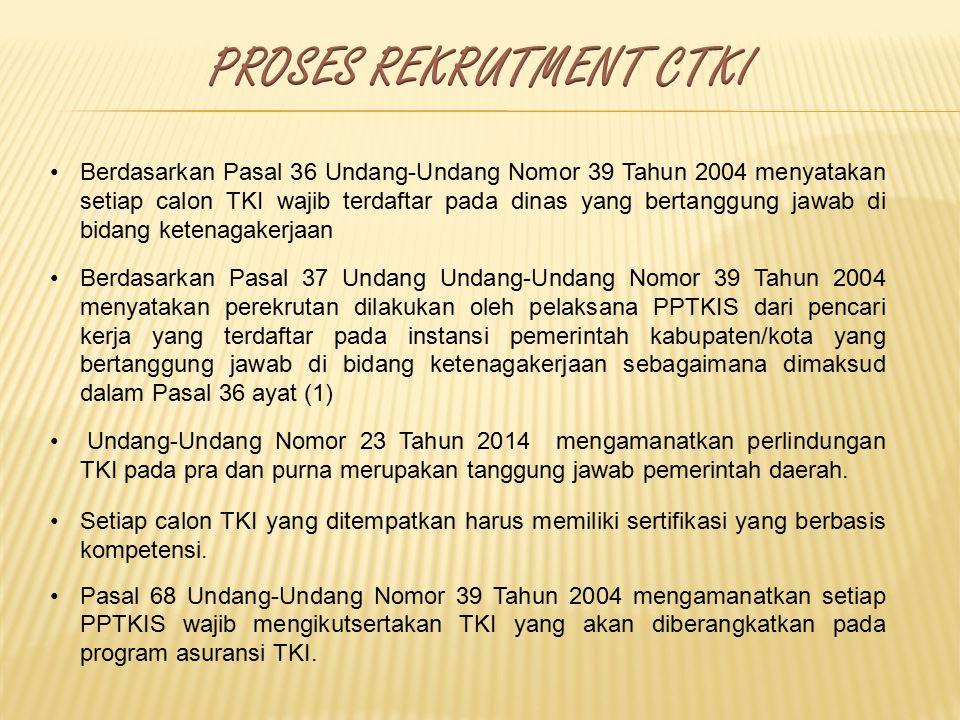 Berdasarkan Pasal 36 Undang-Undang Nomor 39 Tahun 2004 menyatakan setiap calon TKI wajib terdaftar pada dinas yang bertanggung jawab di bidang ketenag