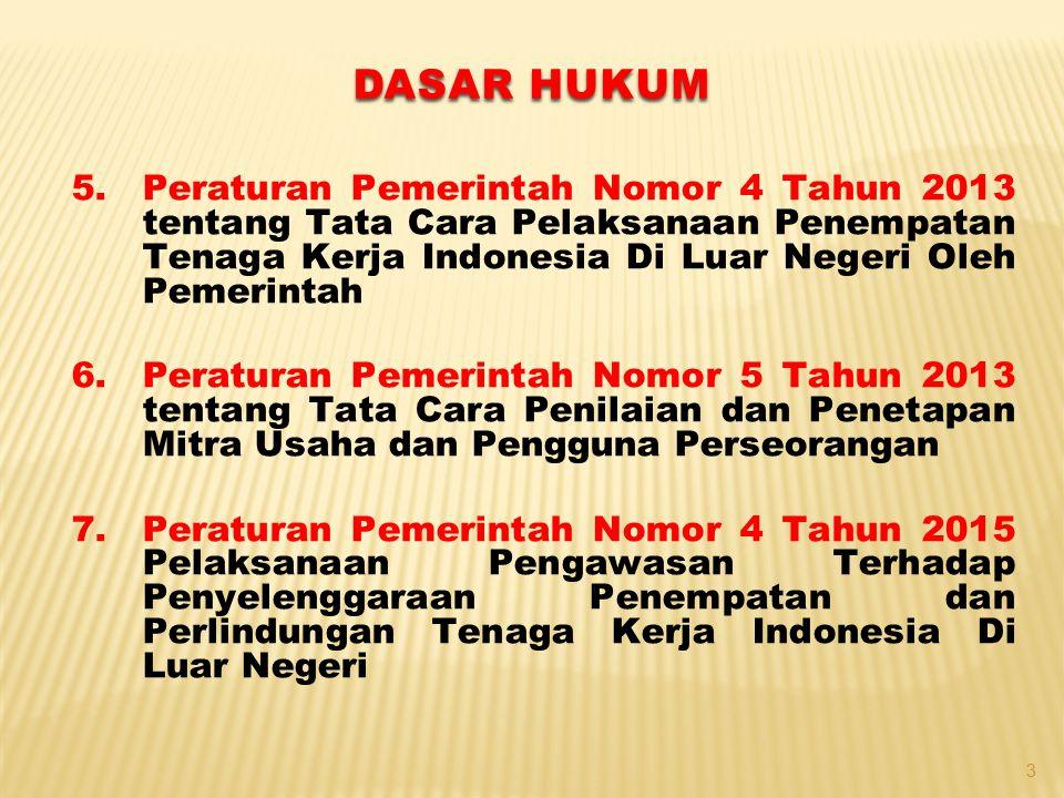 5.Peraturan Pemerintah Nomor 4 Tahun 2013 tentang Tata Cara Pelaksanaan Penempatan Tenaga Kerja Indonesia Di Luar Negeri Oleh Pemerintah 6.Peraturan P
