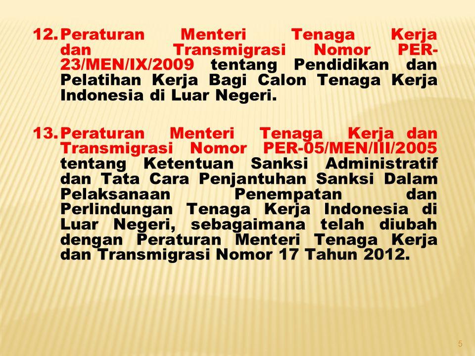 14.Peraturan Menteri Tenaga Kerja dan Transmigrasi Nomor PER-07/MEN/V/2010 tentang Asuransi Tenaga Kerja Indonesia, sebagaimana telah diubah dengan Peraturan Menteri Tenaga Kerja dan Transmigrasi Nomor 1 Tahun 2012 tentang Perubahan Atas Peraturan Menteri Tenaga Kerja dan Transmigrasi Nomor PER- 07/MEN/V/2010 tentang Asuransi Tenaga Kerja Indonesia.