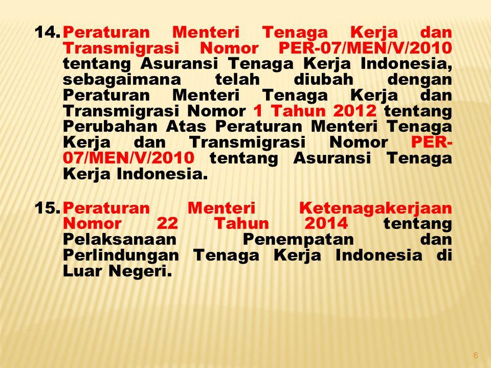 14.Peraturan Menteri Tenaga Kerja dan Transmigrasi Nomor 06 Tahun 2013 tentang Tata Cara Pembentukan Perwakilan PPTKIS (Perwalu) di Luar Negeri.