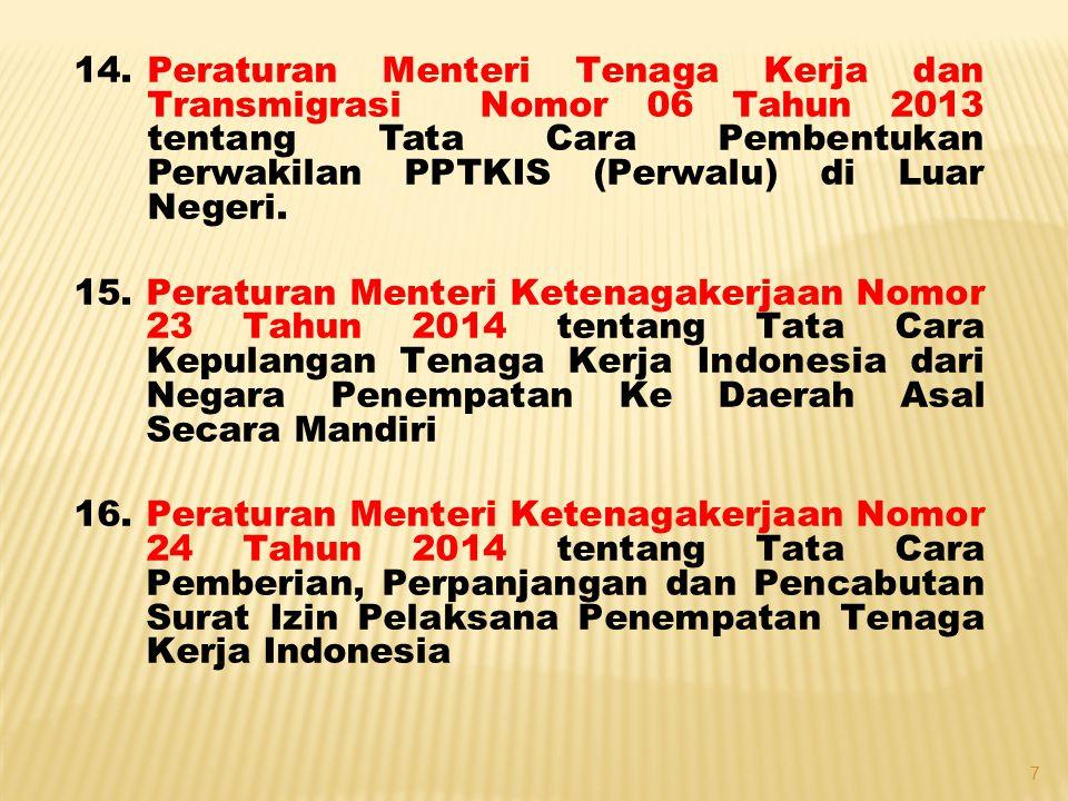 14.Peraturan Menteri Tenaga Kerja dan Transmigrasi Nomor 06 Tahun 2013 tentang Tata Cara Pembentukan Perwakilan PPTKIS (Perwalu) di Luar Negeri. 15.Pe