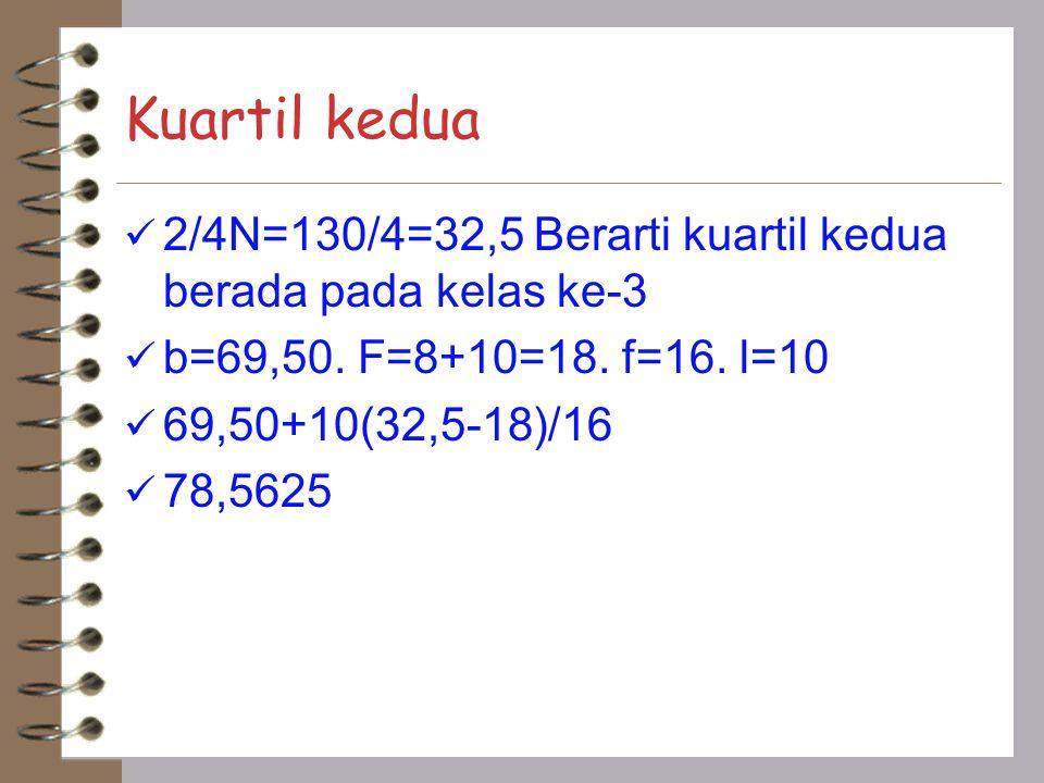 Kuartil kedua 2/4N=130/4=32,5 Berarti kuartil kedua berada pada kelas ke-3 b=69,50. F=8+10=18. f=16. l=10 69,50+10(32,5-18)/16 78,5625