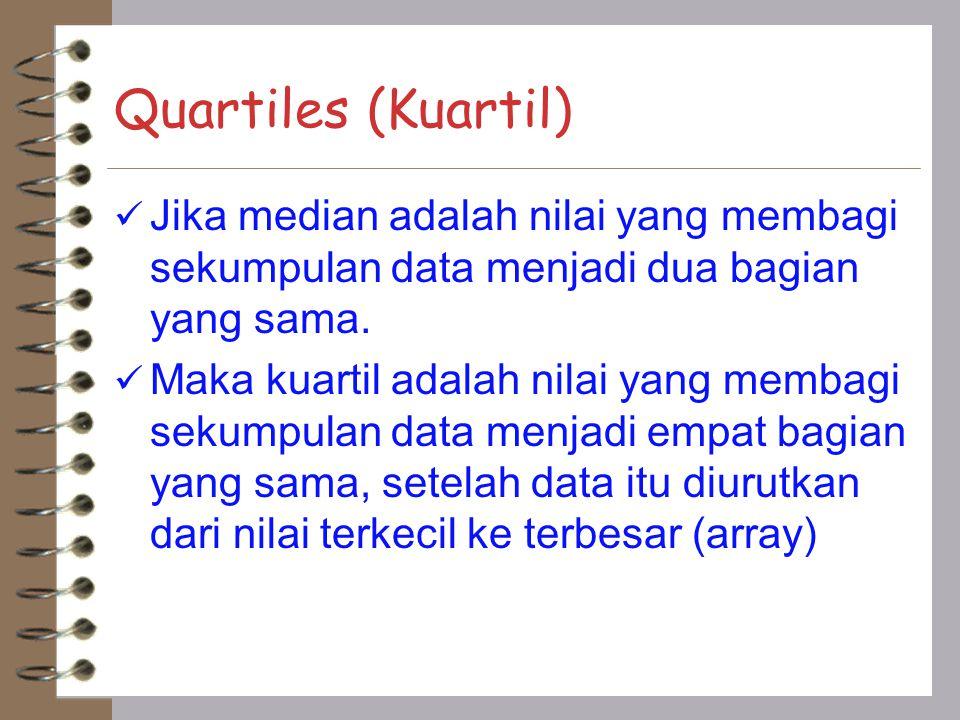 Quartiles (Kuartil) Jika median adalah nilai yang membagi sekumpulan data menjadi dua bagian yang sama. Maka kuartil adalah nilai yang membagi sekumpu