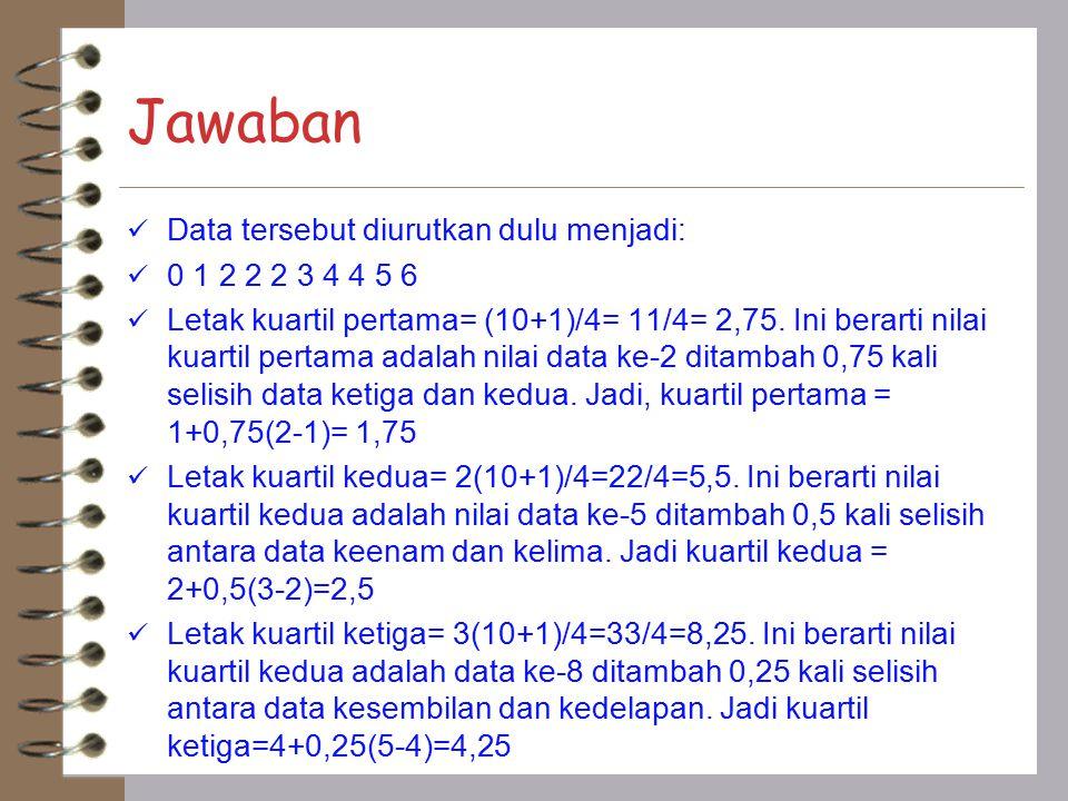 Jawaban Data tersebut diurutkan dulu menjadi: 0 1 2 2 2 3 4 4 5 6 Letak kuartil pertama= (10+1)/4= 11/4= 2,75. Ini berarti nilai kuartil pertama adala
