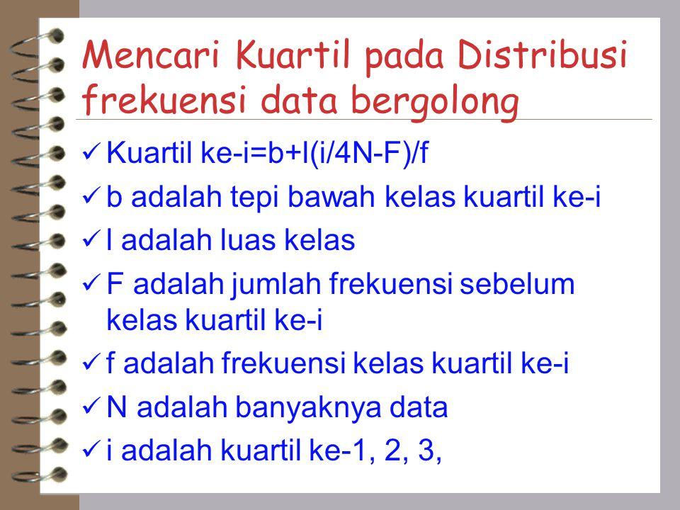 Mencari Kuartil pada Distribusi frekuensi data bergolong Kuartil ke-i=b+l(i/4N-F)/f b adalah tepi bawah kelas kuartil ke-i l adalah luas kelas F adala