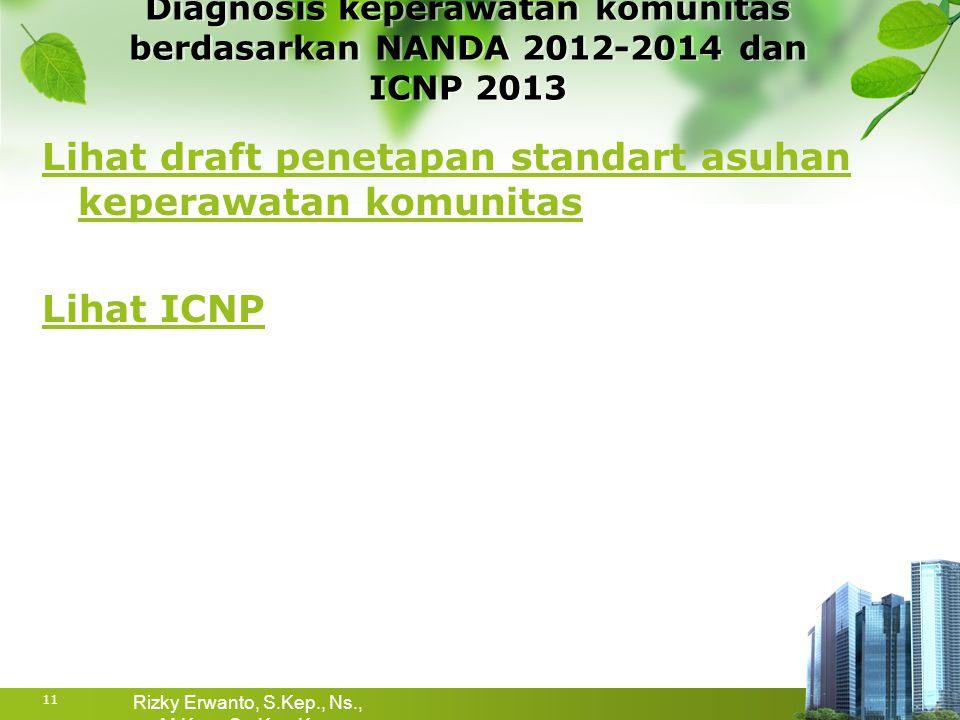 Lihat draft penetapan standart asuhan keperawatan komunitas Lihat ICNP Diagnosis keperawatan komunitas berdasarkan NANDA 2012-2014 dan ICNP 2013 11 Ri