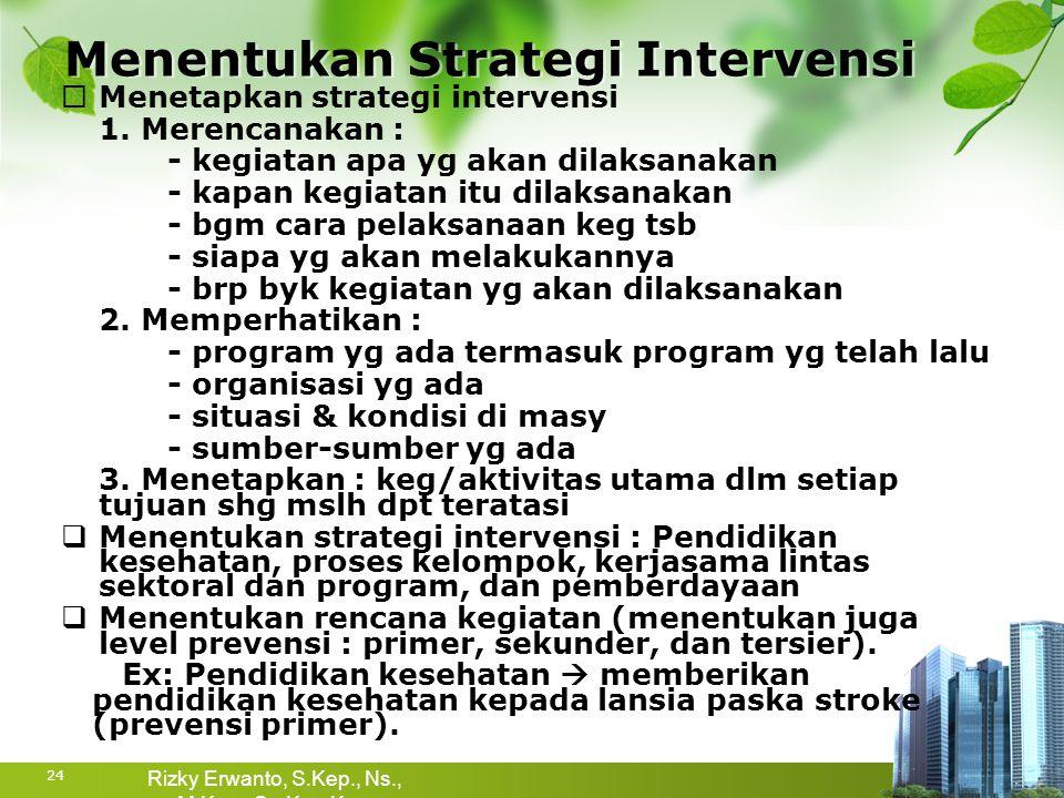 Menentukan Strategi Intervensi  Menetapkan strategi intervensi 1. Merencanakan : - kegiatan apa yg akan dilaksanakan - kapan kegiatan itu dilaksanaka