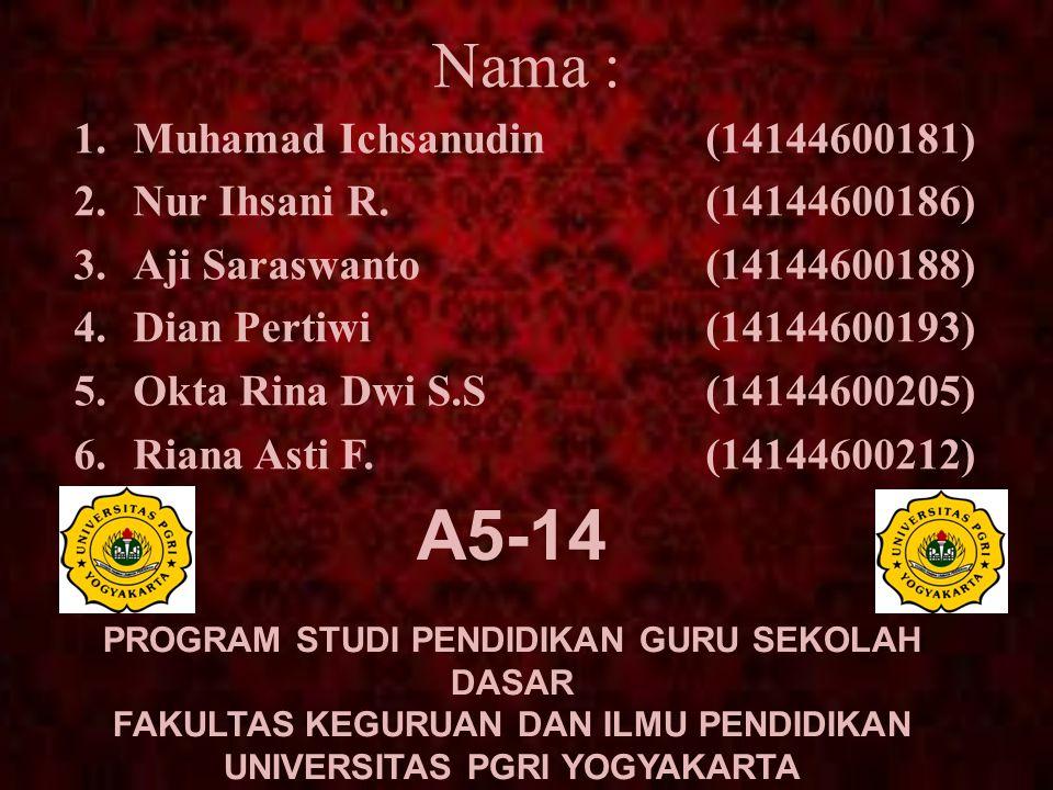 Nama : 1.Muhamad Ichsanudin(14144600181) 2.Nur Ihsani R.(14144600186) 3.Aji Saraswanto(14144600188) 4.Dian Pertiwi(14144600193) 5.Okta Rina Dwi S.S(14