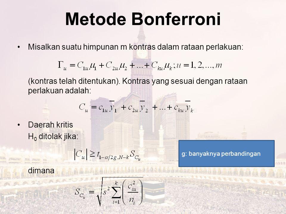 Metode Bonferroni Misalkan suatu himpunan m kontras dalam rataan perlakuan: (kontras telah ditentukan). Kontras yang sesuai dengan rataan perlakuan ad