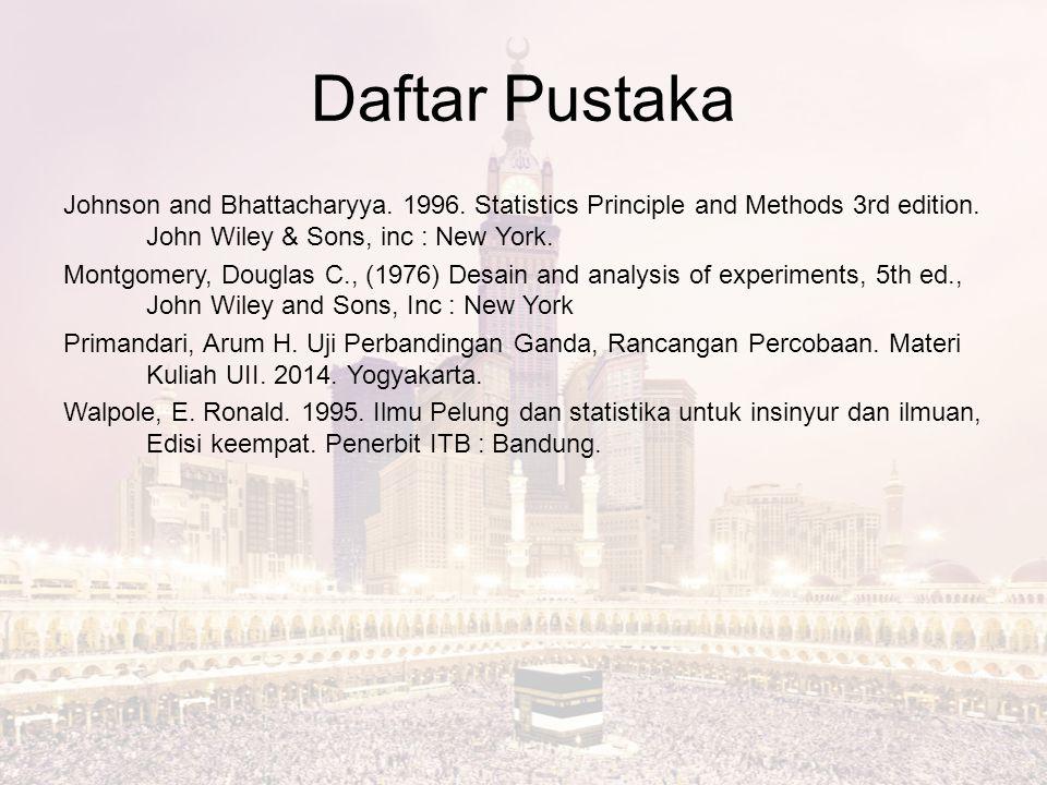 Daftar Pustaka Johnson and Bhattacharyya. 1996. Statistics Principle and Methods 3rd edition. John Wiley & Sons, inc : New York. Montgomery, Douglas C