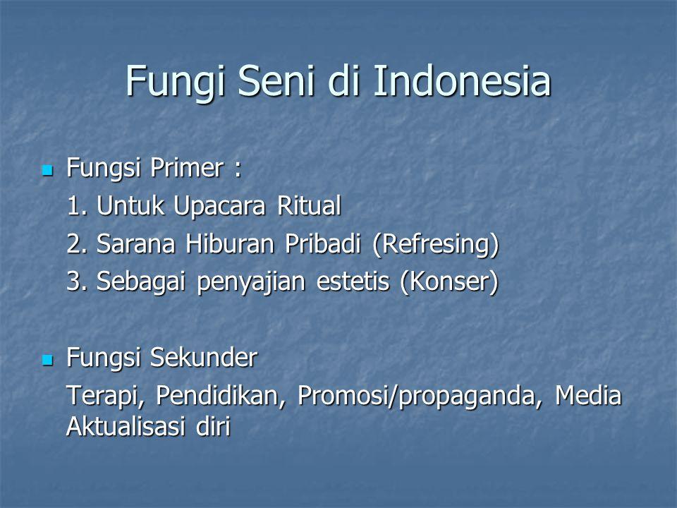 Fungi Seni di Indonesia Fungsi Primer : Fungsi Primer : 1. Untuk Upacara Ritual 2. Sarana Hiburan Pribadi (Refresing) 3. Sebagai penyajian estetis (Ko