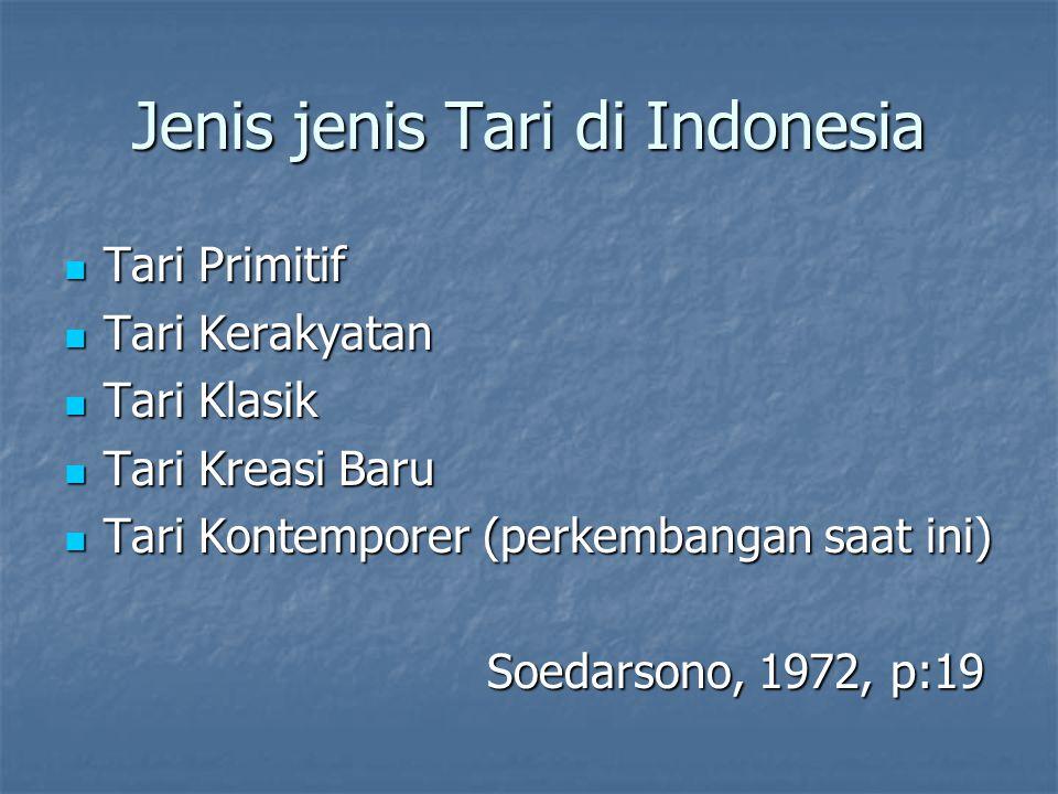 Jenis jenis Tari di Indonesia Tari Primitif Tari Primitif Tari Kerakyatan Tari Kerakyatan Tari Klasik Tari Klasik Tari Kreasi Baru Tari Kreasi Baru Ta