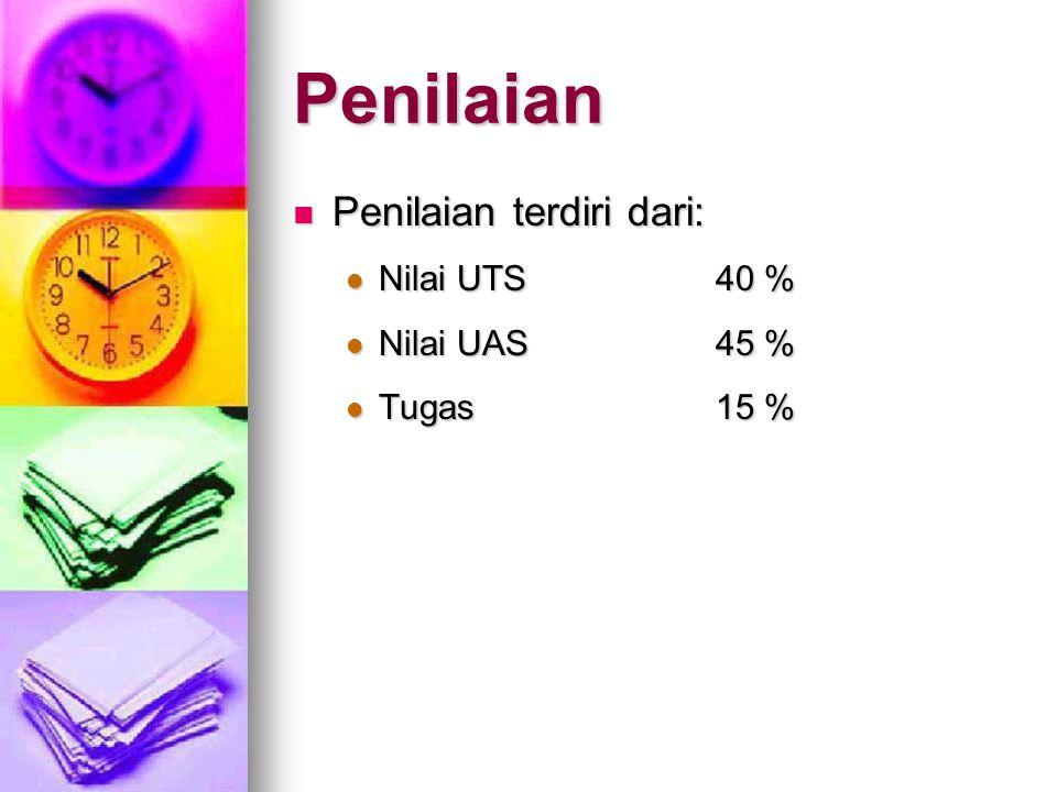 Penilaian Penilaian terdiri dari: Penilaian terdiri dari: Nilai UTS40 % Nilai UTS40 % Nilai UAS45 % Nilai UAS45 % Tugas15 % Tugas15 %