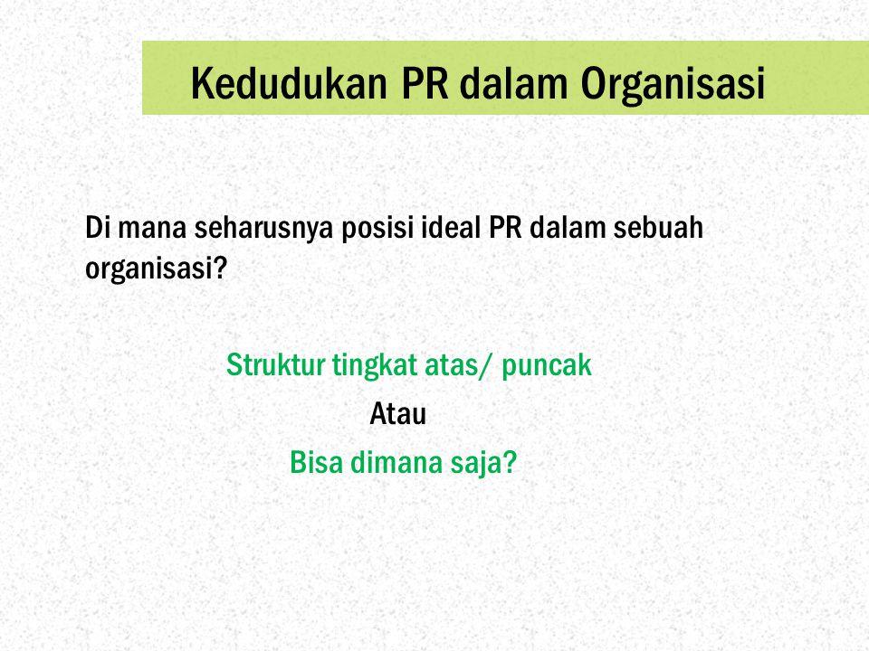 Kedudukan PR dalam Organisasi Di mana seharusnya posisi ideal PR dalam sebuah organisasi? Struktur tingkat atas/ puncak Atau Bisa dimana saja?
