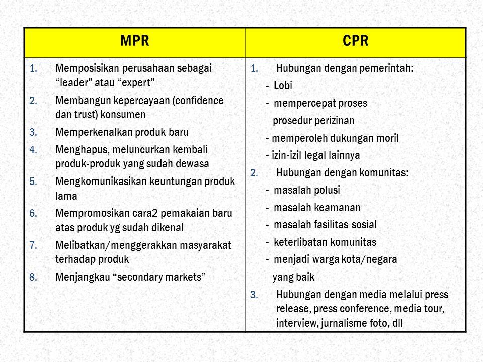 """MPRCPR 1. Memposisikan perusahaan sebagai """"leader"""" atau """"expert"""" 2. Membangun kepercayaan (confidence dan trust) konsumen 3. Memperkenalkan produk bar"""