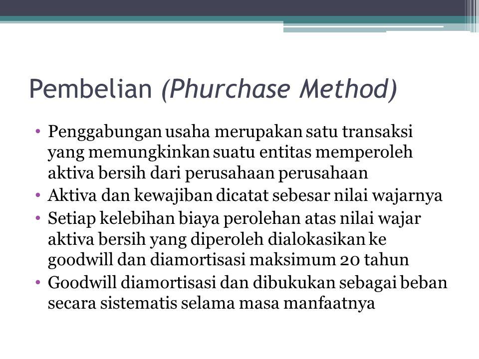 Pembelian (Phurchase Method) Penggabungan usaha merupakan satu transaksi yang memungkinkan suatu entitas memperoleh aktiva bersih dari perusahaan peru