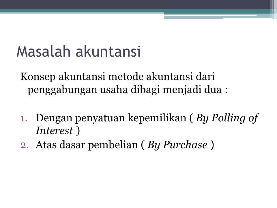 Masalah akuntansi Konsep akuntansi metode akuntansi dari penggabungan usaha dibagi menjadi dua : 1.Dengan penyatuan kepemilikan ( By Polling of Intere