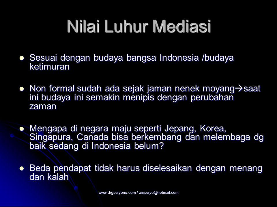 Nilai Luhur Mediasi Sesuai dengan budaya bangsa Indonesia /budaya ketimuran Sesuai dengan budaya bangsa Indonesia /budaya ketimuran Non formal sudah a