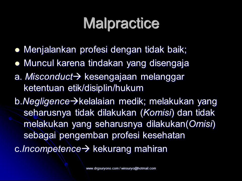 Malpractice Menjalankan profesi dengan tidak baik; Menjalankan profesi dengan tidak baik; Muncul karena tindakan yang disengaja Muncul karena tindakan