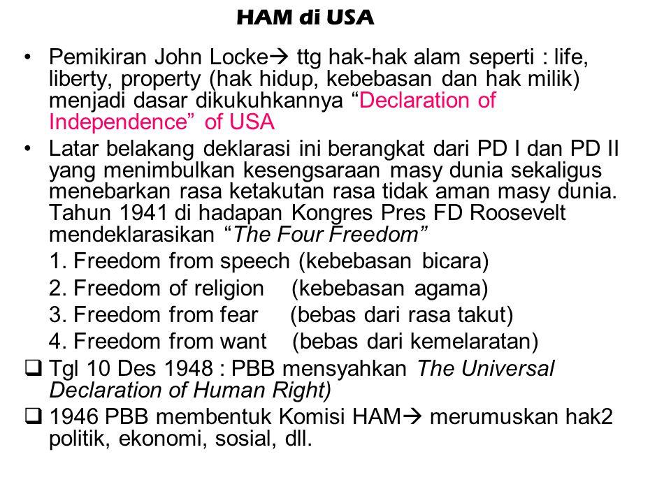 Bill of Rights (1689) UU yg diterima Parlemen sbg bentuk perlawanan thd Raja James II, memuat: a) kebebasan dlm pemilihan anggota parlemen b) kebebasa