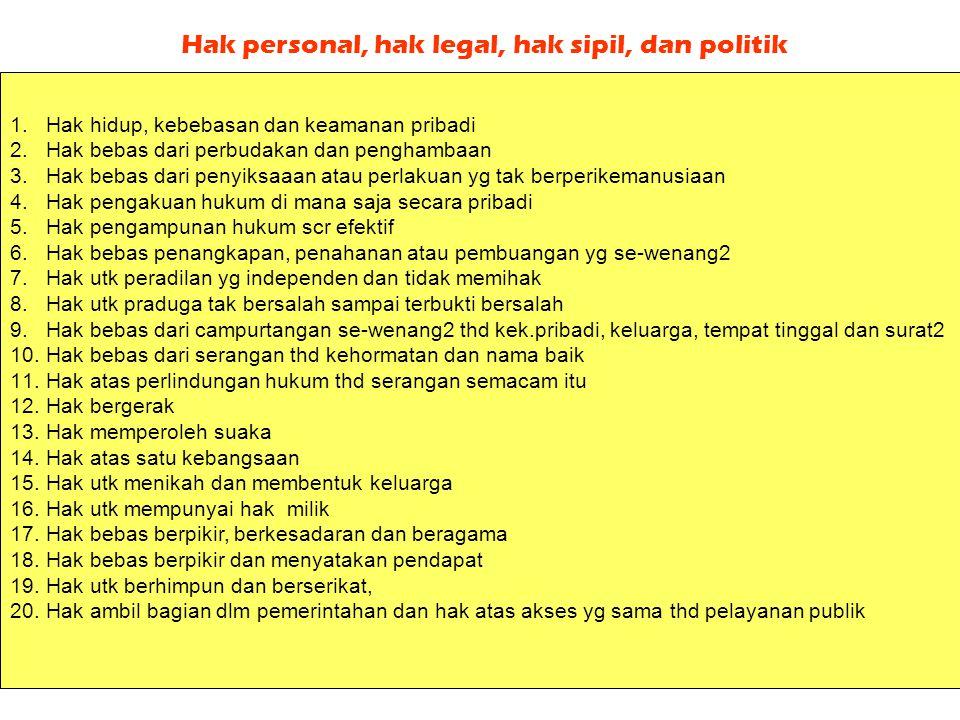 Deklarasi Universal HAM (DU-HAM PBB - 10 Des 1948) Lima jenis hak asasi yg dimiliki setiap individu:  Hak personal (hak jaminan kebutuhan pribadi) 