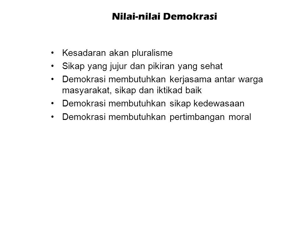 Manfaat Demokrasi Srijanti, dkk. (2009: 52) Kesetaraan sebagai warganegara Memenuhi kebutuhan-kebutuhan umum Pluralisme dan kompromi Menjamin hak-hak