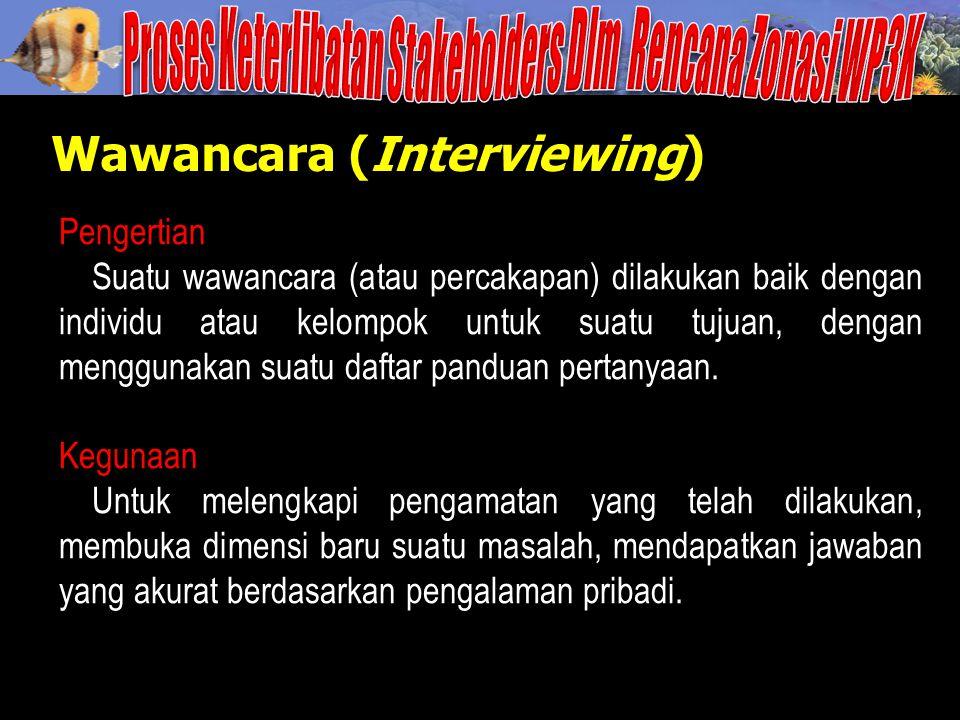 Wawancara (Interviewing) Pengertian Suatu wawancara (atau percakapan) dilakukan baik dengan individu atau kelompok untuk suatu tujuan, dengan mengguna