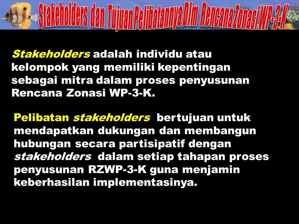 Stakeholders adalah individu atau kelompok yang memiliki kepentingan sebagai mitra dalam proses penyusunan Rencana Zonasi WP-3-K. Pelibatan stakeholde
