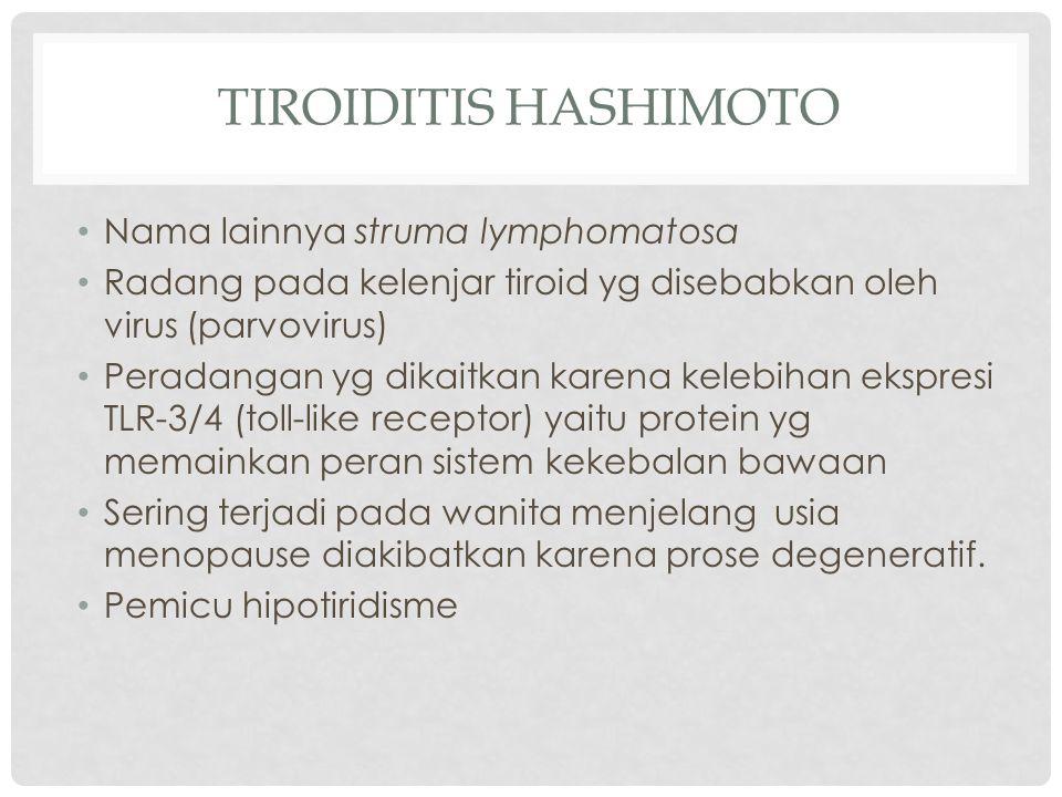 TIROIDITIS HASHIMOTO Nama lainnya struma lymphomatosa Radang pada kelenjar tiroid yg disebabkan oleh virus (parvovirus) Peradangan yg dikaitkan karena