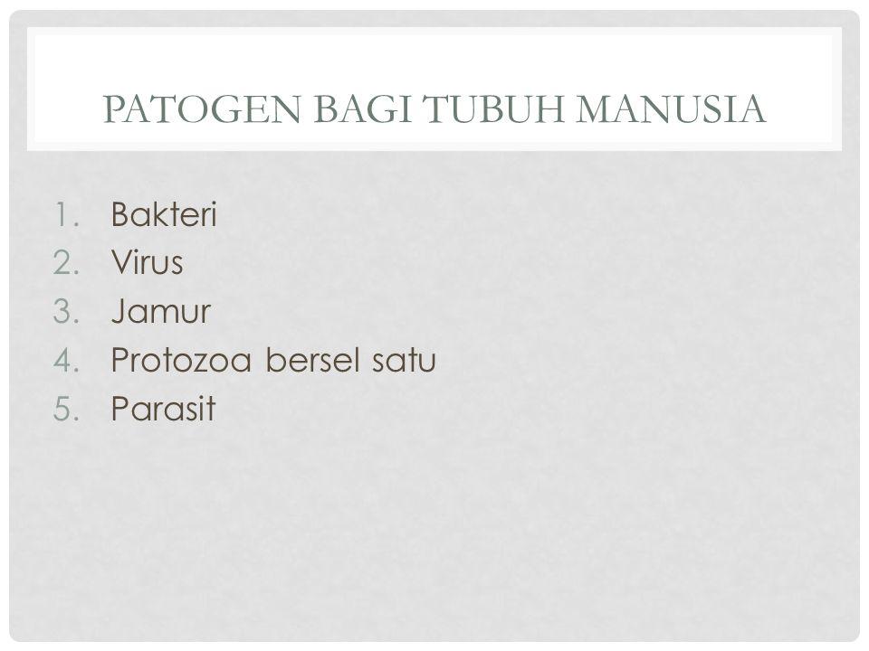 PATOGEN BAGI TUBUH MANUSIA 1.Bakteri 2.Virus 3.Jamur 4.Protozoa bersel satu 5.Parasit