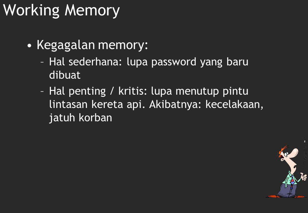 Working memory: Short-term (recent) memory Working memory adalah sebuah sistem penyimpanan sementara dan pengaturan informasi yang diperlukan untuk melkukan tugas kognitif yang kompleks seperti belajar, reasoning dan memahami.