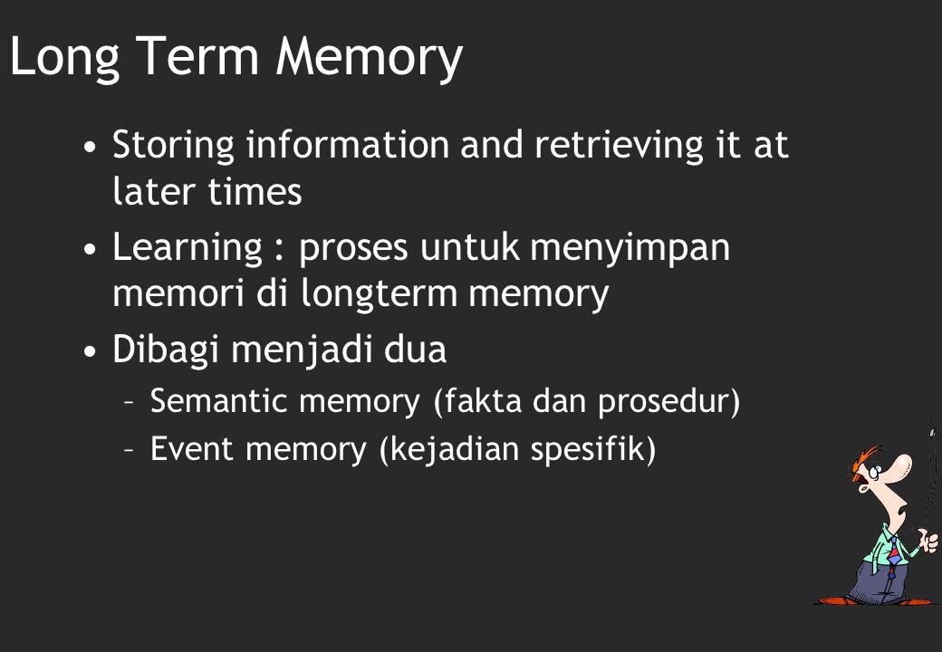 Long-term Memory Long-term memory: Sebuah sistem penyimpanan permanen untuk menyimpan, mengatur dan memanggil informasi yang nantinya akan digunakan.