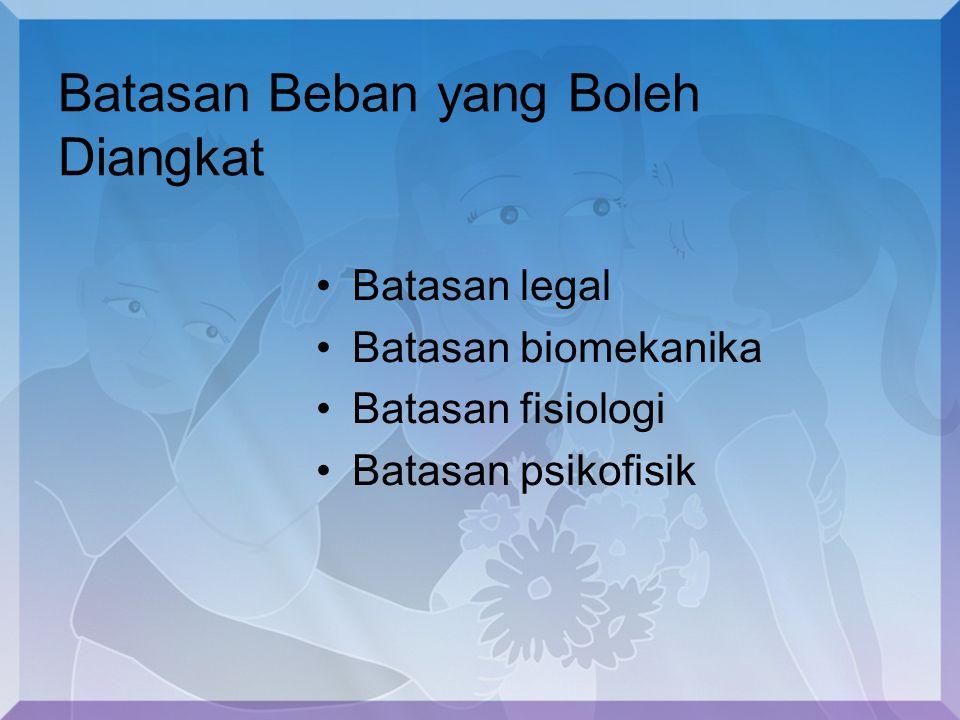 Batasan Beban yang Boleh Diangkat Batasan legal Batasan biomekanika Batasan fisiologi Batasan psikofisik